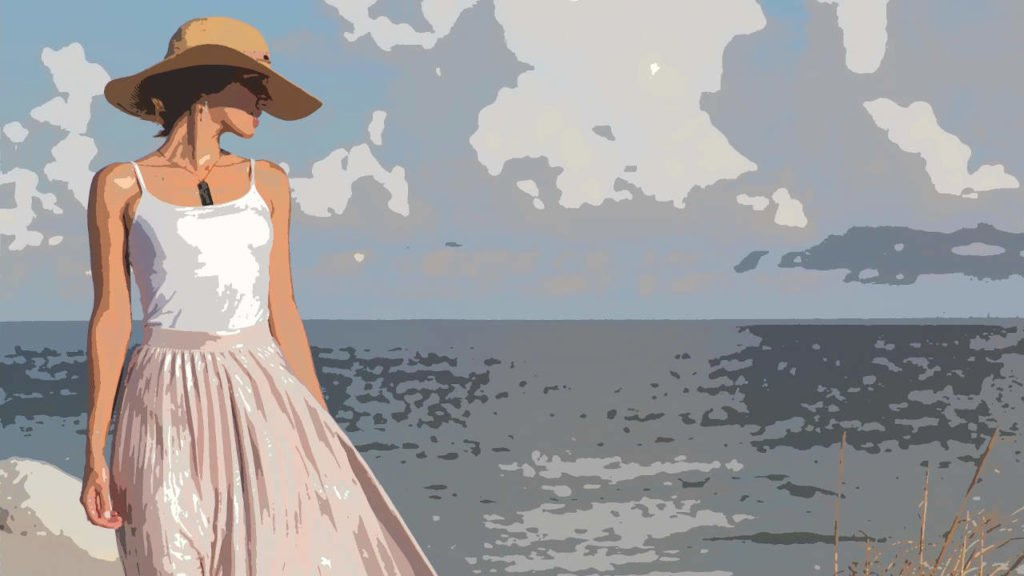 Tyttö rannalla